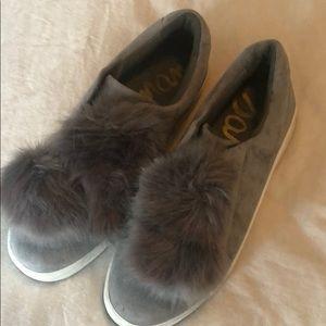 Sam Edelman Grey Pom Pom shoes